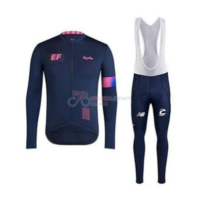 EF Education First-Drapac Cycling Jersey Kit Long Sleeve 2020 Spento Blue