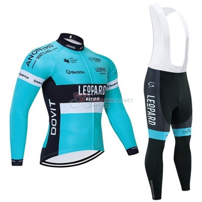 Leopard Cycling Jersey Kit Long Sleeve 2020 Natural Blue Black