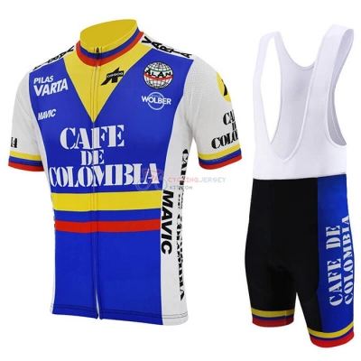 Colombia Cycling Jersey Kit Short Sleeve 2021 Blue White