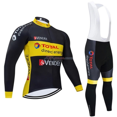 Direct Energie Cycling Jersey Kit Long Sleeve 2021 Black Yellow