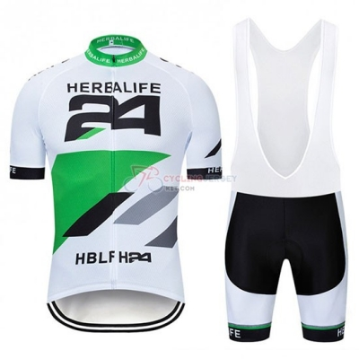 Herbalifr 24 Cycling Jersey Kit Short Sleeve 2019 White Green