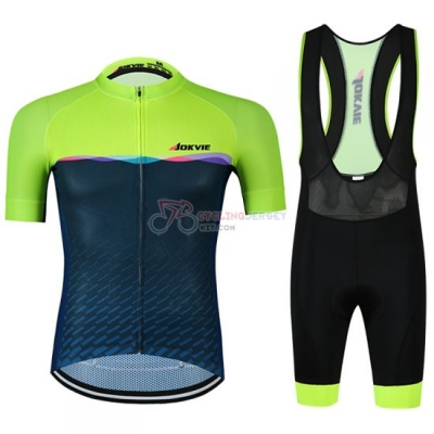 Jokvie Cycling Jersey Kit Short Sleeve 2019 Green Spento Blue