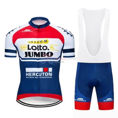 Lotto NL-Jumbo Cycling Jersey Kit Short Sleeve 2019 Blue White Red