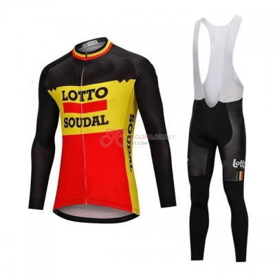 Lotto Soudal Cycling Jersey Kit Long Sleeve Black and Yellow