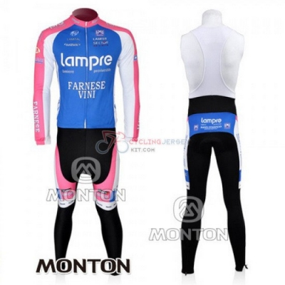Lampre Cycling Jersey Kit Long Sleeve 2010 Pink And Light Blue