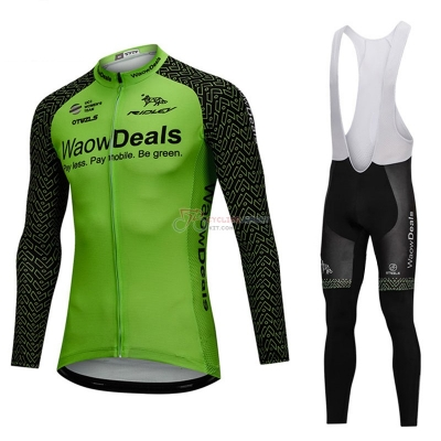 Waowdeals Cycling Jersey Kit Long Sleeve Green and Black