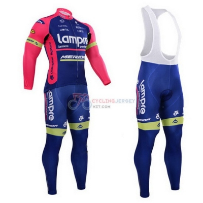 Lampre Cycling Jersey Kit Long Sleeve 2015 Pink And Blue