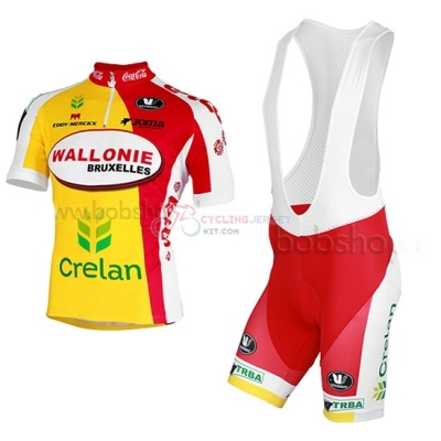 2013 Team Wallonie Bruxelles yellow red Short Sleeve Cycling Jersey And Bib Shorts Kit