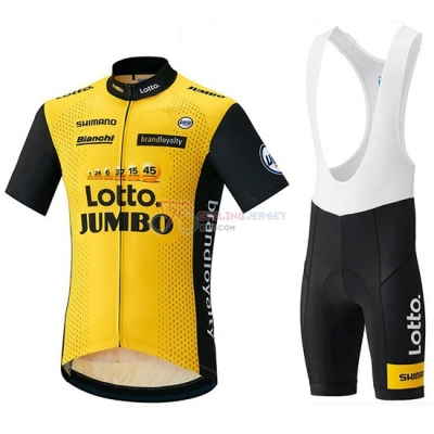 2018 Lotto Nl Jumbo Cycling Jersey Kit Short Sleeve Yellow and Black