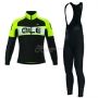 ALE Excel Weddell Long Sleeve Cycling Jersey and Bib Pant Kit 2017 green