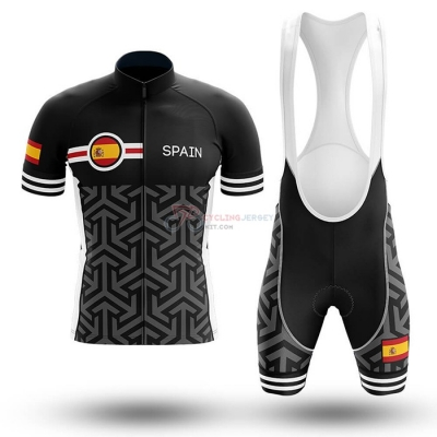 Campione Spain Cycling Jersey Kit Short Sleeve 2020 Black