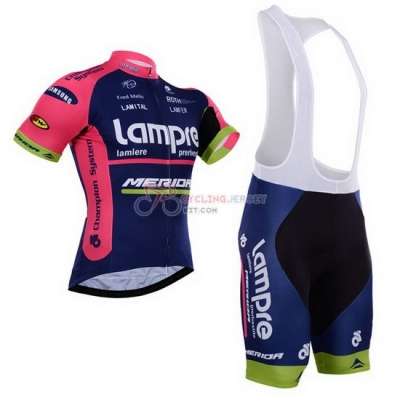 Lampre Cycling Jersey Kit Short Sleeve 2015 Pink And Blue