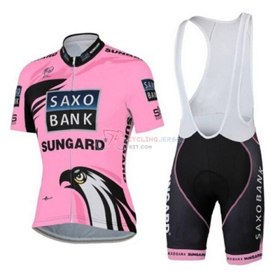Women Cycling Jersey Kit Saxo Bank Short Sleeve 2015 Pink And Black