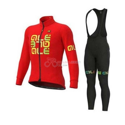 ALE Cycling Jersey Kit Long Sleeve 2020 Red Yellow