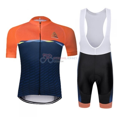 Chomir Cycling Jersey Kit Short Sleeve 2019 Orange Spento Blue
