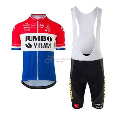 Jumbo Visma Cycling Jersey Kit Short Sleeve 2020 Red White Blue