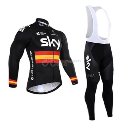 Sky Cycling Jersey Kit Long Sleeve 2016 Black And Yellow