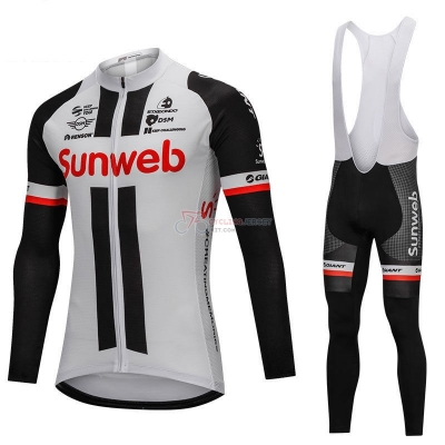 Sunweb Cycling Jersey Kit Long Sleeve Gray and Black