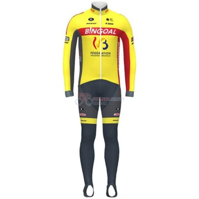 Wallonie Bruxelles Cycling Jersey Kit Long Sleeve 2020 Yellow Red