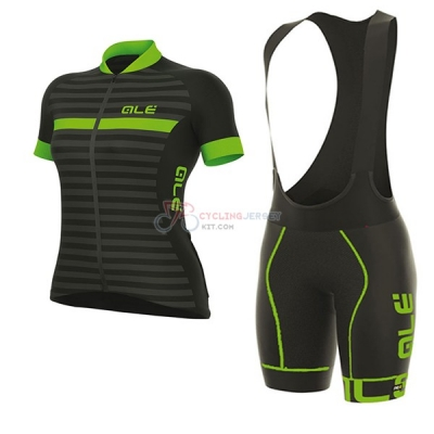 Women ALE Excel Riviera Short Sleeve Cycling Jersey and Bib Shorts Kit 2017 black and green