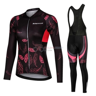 Women Mieyco Cycling Jersey Kit Long Sleeve 2019 Black Red