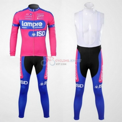 Lampre Cycling Jersey Kit Long Sleeve 2012 Pink And Sky Blue