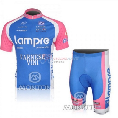 Lampre Cycling Jersey Kit Short Sleeve 2010 Pink And Light Blue