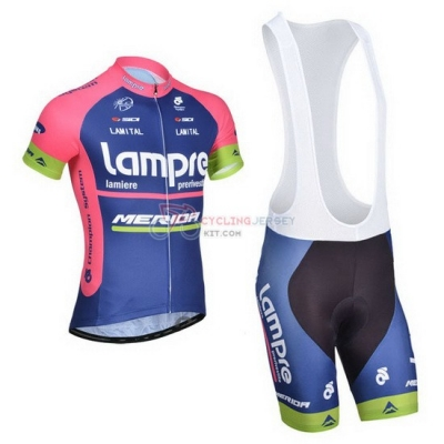 Lampre Cycling Jersey Kit Short Sleeve 2014 Pink And Blue