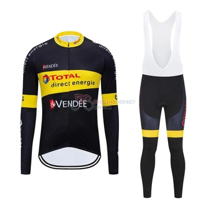 Direct Energie Cycling Jersey Kit Long Sleeve 2019 Black Yellow