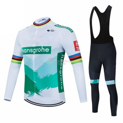 Bora-hansgrone Cycling Jersey Kit Long Sleeve 2021 White Green