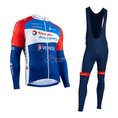 Direct Energie Cycling Jersey Kit Long Sleeve 2020 Red Blue