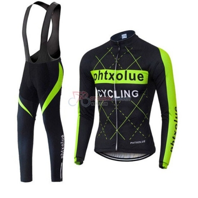 Phtxolue Cycling Jersey Kit Long Sleeve 2019 Black Green