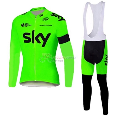Sky Cycling Jersey Kit Long Sleeve 2016 Black And Green