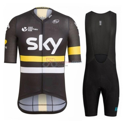 Sky Cycling Jersey Kit Short Sleeve 2017 Yellow And Black