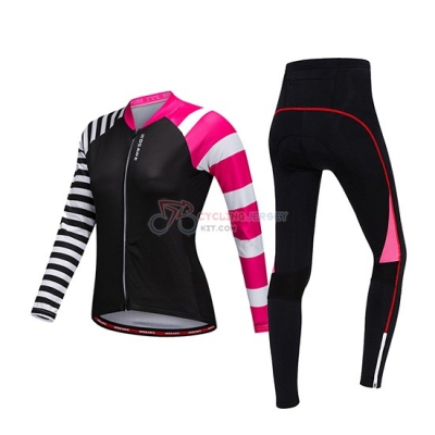 Women Wosawe Cycling Jersey Kit Long Sleeve 2019 Black White Pink