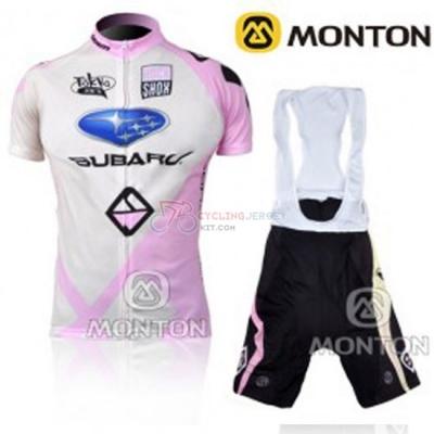 Women Cycling Jersey Kit Subaru Short Sleeve 2011 Pink And White 1a321e2da