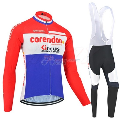 Corendon Circus Cycling Jersey Kit Long Sleeve 2019 Red White Azul