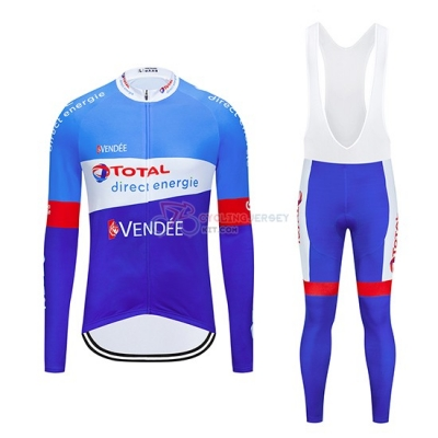Direct Energie Cycling Jersey Kit Long Sleeve 2019 Bluee White