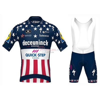 Deceuninck Quick Step Campione USA Cycling Jersey Kit Short Sleeve 2020 Blue
