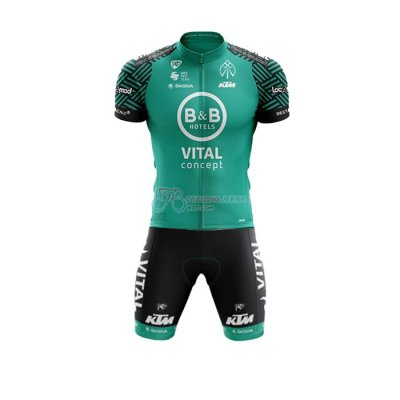 Vital Concept-BB Hotels Cycling Jersey Kit Short Sleeve 2020 White Green(1)