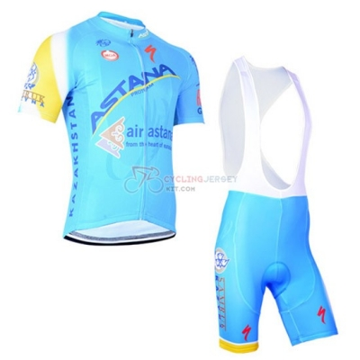Astana Cycling Jersey Kit Short Sleeve 2014 Light Blue And Yellow