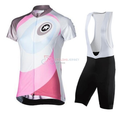 Women Cycling Jersey Kit Assos Short Sleeve 2016 White And Pink