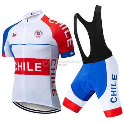 Chile Cycling Jersey Kit Short Sleeve 2019 White Red