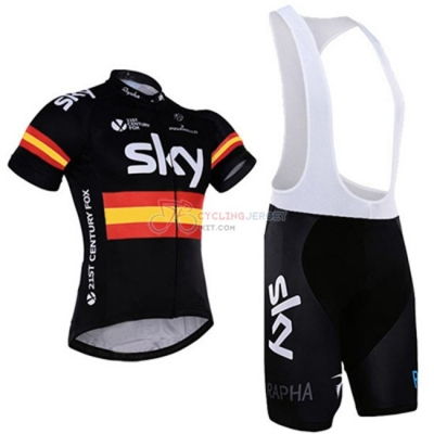 Sky Cycling Jersey Kit Short Sleeve 2016 Black And Yellow