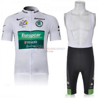 Europcar Cycling Jersey Kit Short Sleeve 2011 Green And White