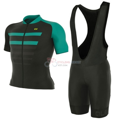 ALE Prr 2.0 Piuma Short Sleeve Cycling Jersey and Bib Shorts Kit 2017 black and light blue