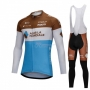 Ag2rla Cycling Jersey Kit Long Sleeve Blue and White
