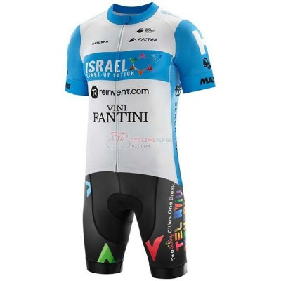 Israel Cycling Academy Cycling Jersey Kit Short Sleeve 2020 Light Blue White