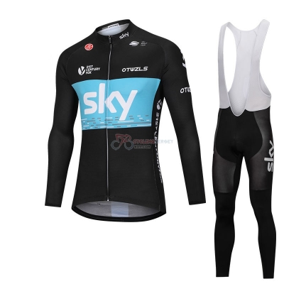 Sky Cycling Jersey Kit Long Sleeve Black and Blue