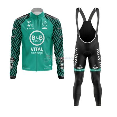 Vital Concept-BB Hotels Cycling Jersey Kit Long Sleeve 2020 White Green